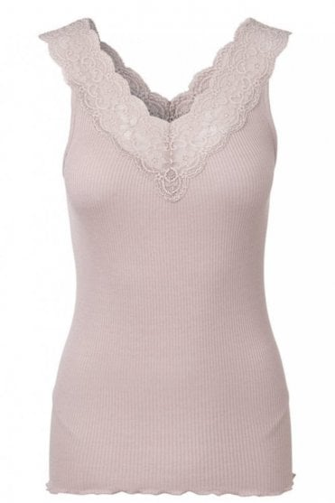 Vintage Powder Top With Wide Lace Straps
