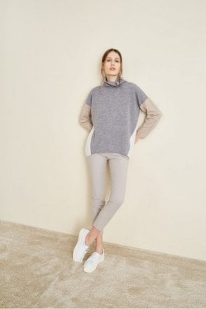 3 Colour Polo Roll Neck Sweater