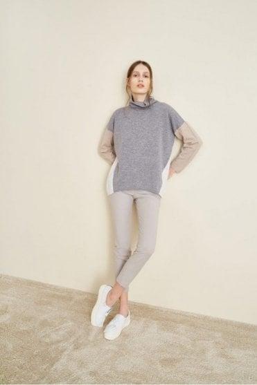 3 Colour Polo Roll Neck Sweater