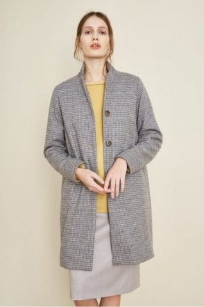 Check Coat in Grey