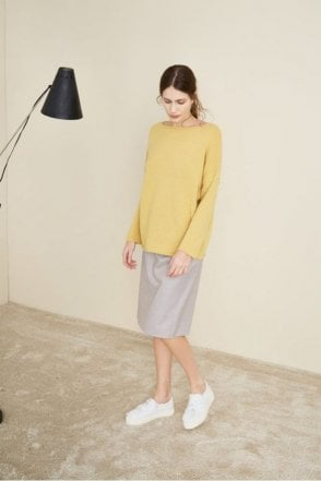 Dropped sleeve knit in Banana