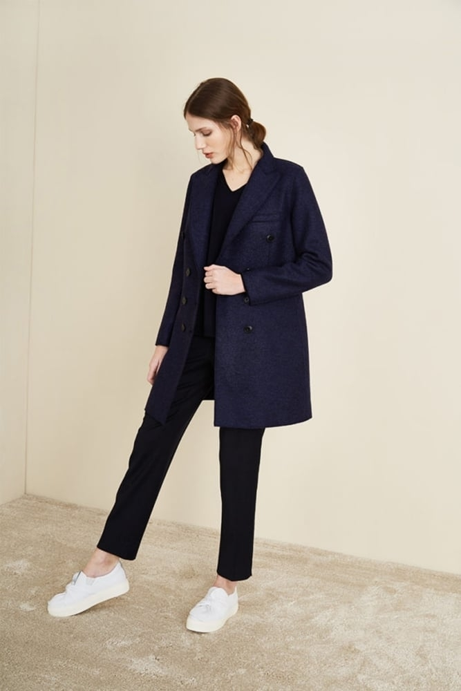 9e6326ee7 Rosso35 Stretch Boiled Wool Coat in Navy at Sue Parkinson