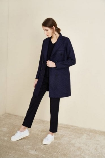 Stretch Boiled Wool Coat in Navy