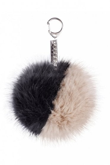 Fawn & Smoke Pom Key Ring