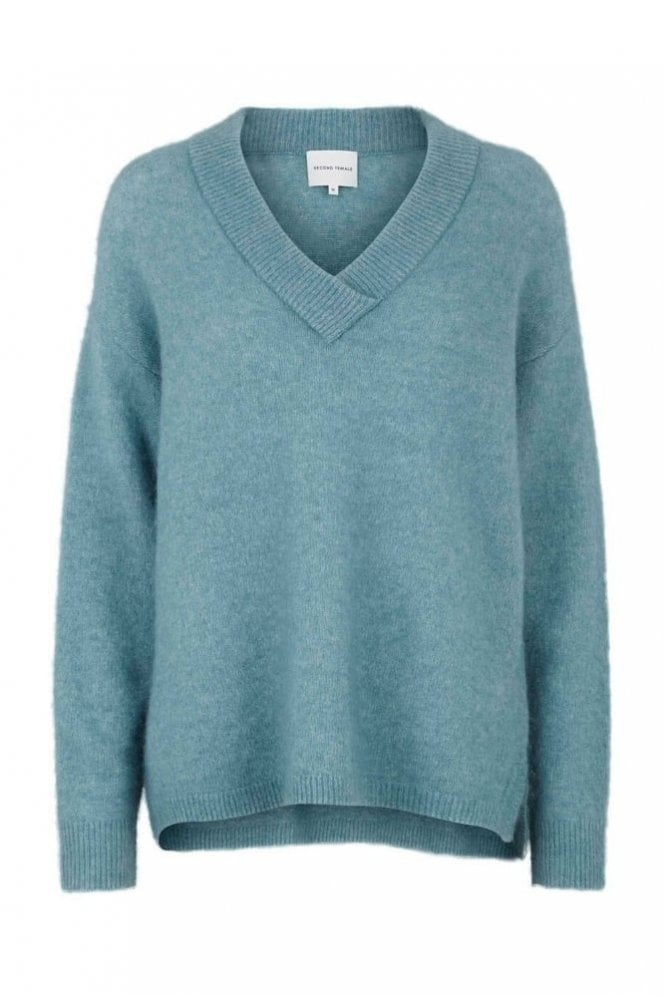 Second Female Brook Knit Deep V-Neck in Arctic