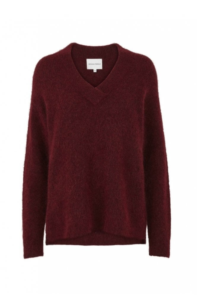 Second Female Brook Knit Deep V-Neck in Pomegranate