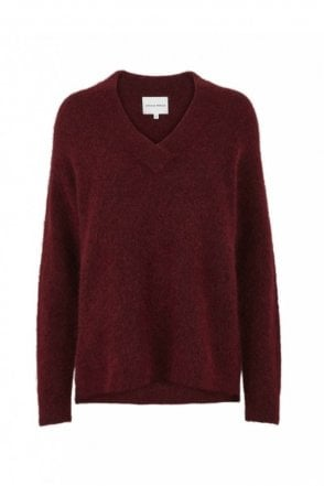 Brook Knit Deep V-Neck in Pomegranate