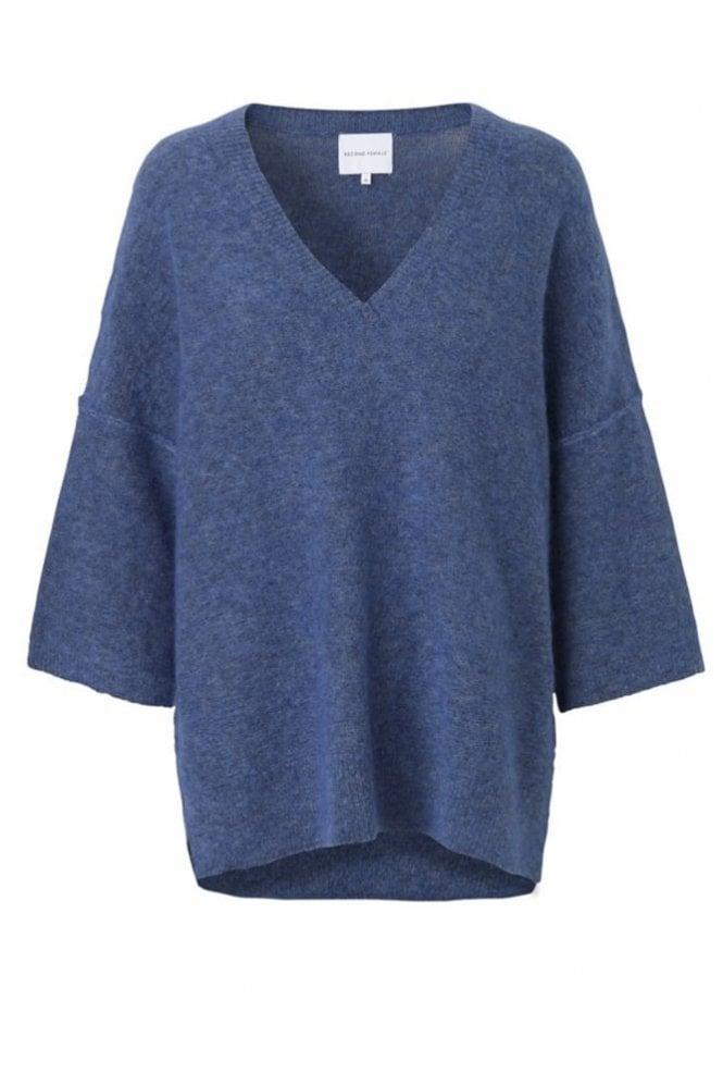 Second Female Brook Knit New V-Neck Blue