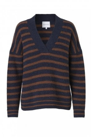 Ealine Knit V-Neck Crispy Navy