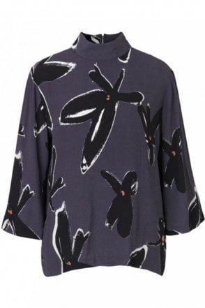 Lucca Blouse in Dusty Navy