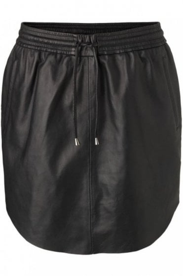 Pril Leather Skirt in Black