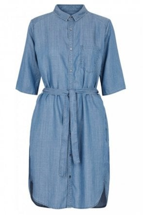 Sabra Shirt Dress in Blue Denim