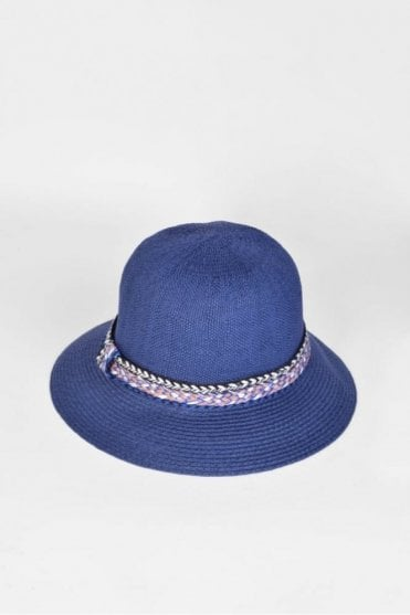 Cloche Hat with Trim in Ink Blue