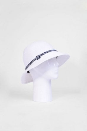 Cloche Hat with Trim in Off White