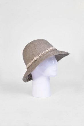 Cloche Hat with Trim in Taupe