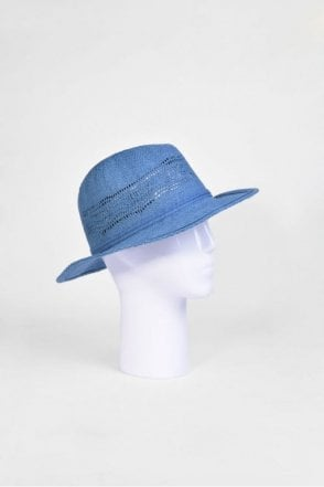 Fedora Hat with Cutouts in Jeans Blue