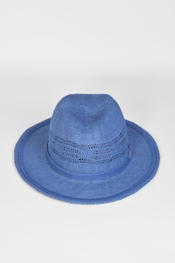 43e019fd9d5a6 Seeberger Fedora Hat with Cutouts in Jeans Blue at Sue Parkinson