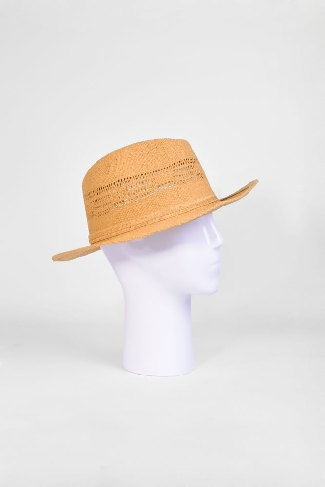 c77a569c955eb Seeberger Fedora Hat with Cutouts in Sand at Sue Parkinson