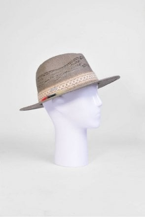Fedora Hat with Tassel Trim in Taupe