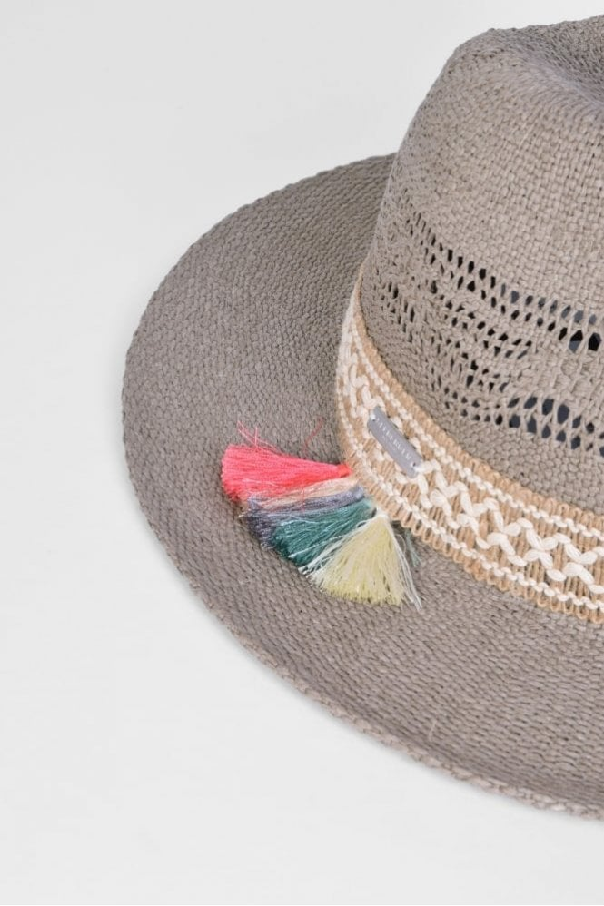 6b39f0d1fc5a6 Seeberger Fedora Hat with Tassel Trim in Taupe at Sue Parkinson