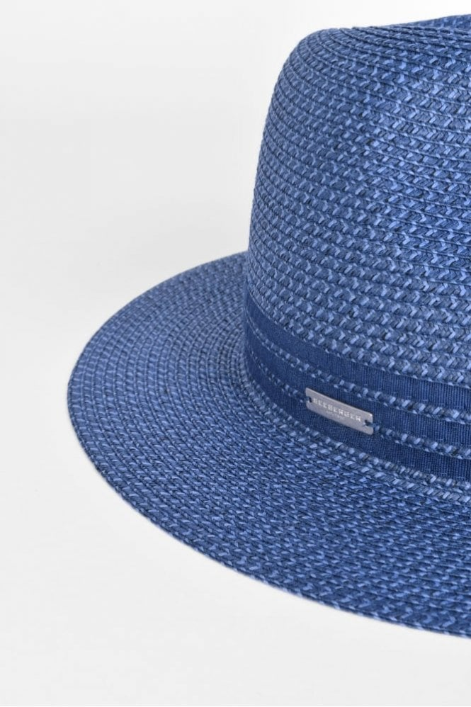 f3f62457c6c6f Seeberger Fedora with Grosgrain Trim in Jeans Blue at Sue Parkinson