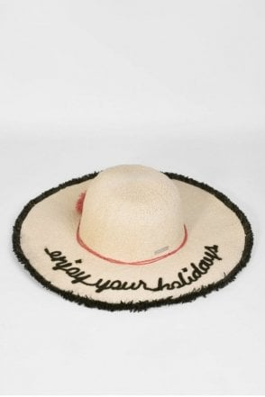 Floppy Embroidered Hat in Natural