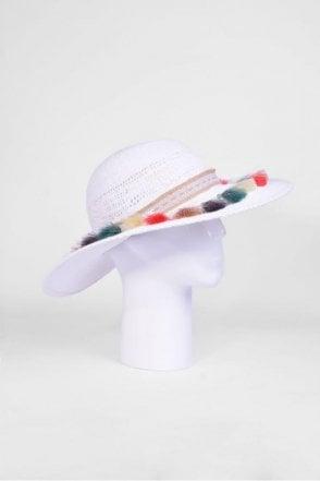 Floppy Hat with Tassels in White