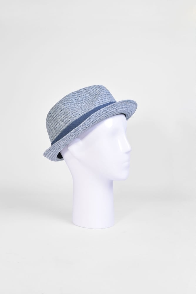 faaa15097c853 Seeberger Trilby Hat with Band in Jeans Blue at Sue Parkinson