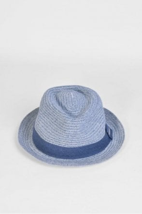 Trilby Hat with Band in Jeans Blue