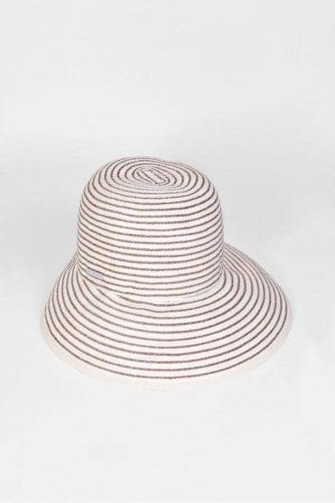 Wide Brim Cloche Hat in Ivory