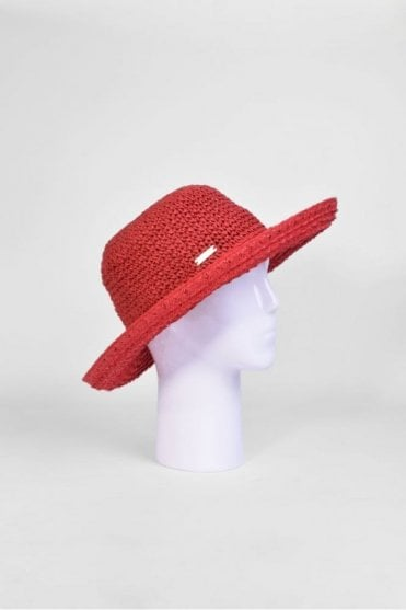 Wide Brim Hat in Ruby Red