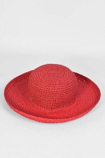 Wide Brim Hat in Ruby Red