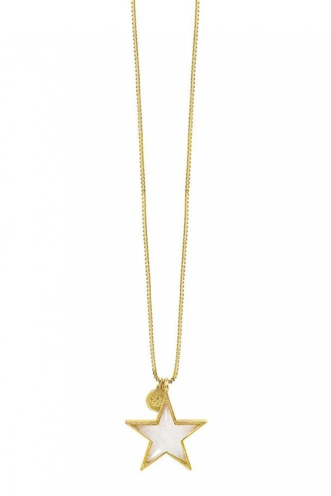 Sence Copenhagen Basics White Jade Star Necklace in Worn Gold