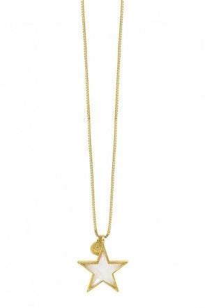 Basics White Jade Star Necklace in Worn Gold
