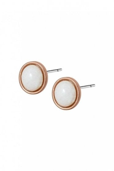 Destiny White Agate Worn Rose Gold Earrings