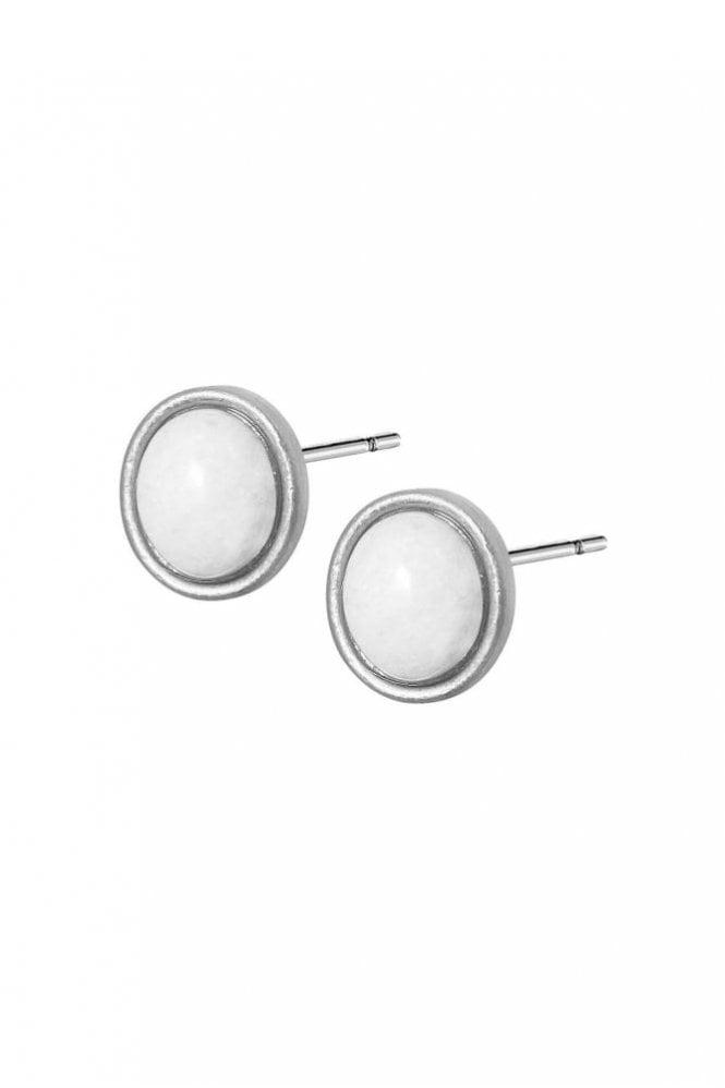 Sence Copenhagen Destiny White Agate Worn Silver Earrings