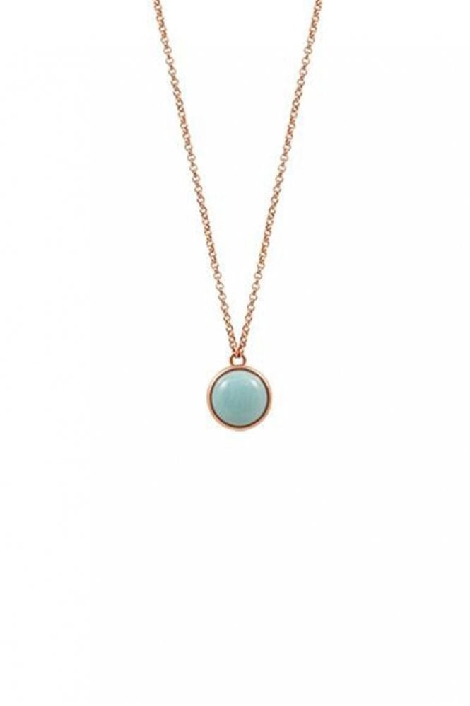 Sence Copenhagen High Summer Amazonite Necklace in Worn Rose Gold