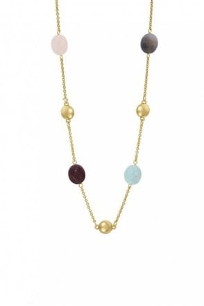 Rainbow Multi-Stone Necklace in Worn Gold