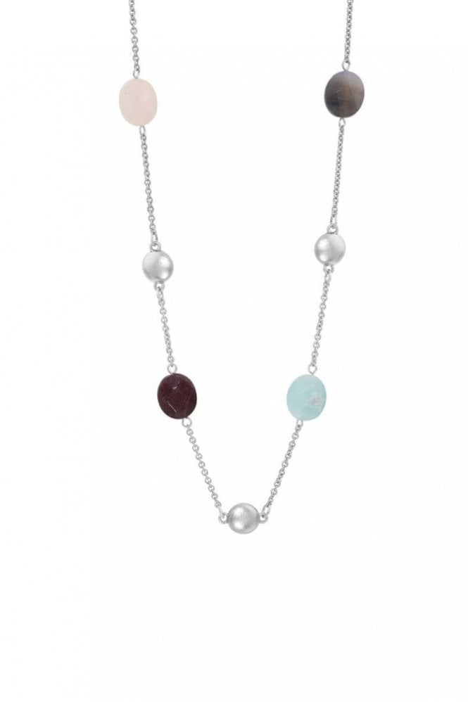 Sence Copenhagen Rainbow Multi-Stone Necklace in Worn Silver