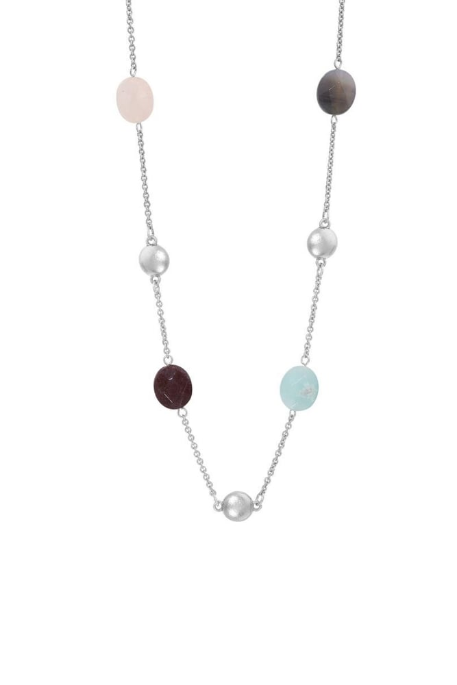 sence copenhagen rainbow multi stone necklace in worn silver. Black Bedroom Furniture Sets. Home Design Ideas