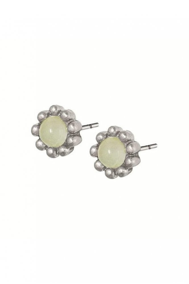 Sence Copenhagen Signature Aquamarine Flower Stud Earrings in Worn Silver