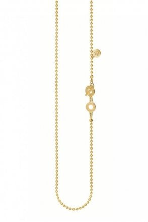 Signature Fine Long Necklace in Worn Gold