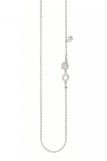 Signature Fine Long Necklace in Worn Silver