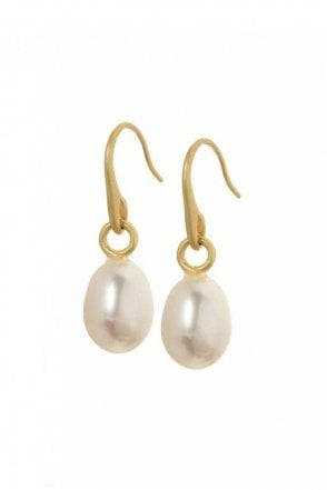 Signature Freshwater Pearl Earrings in Worn Gold