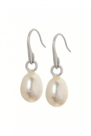 Signature Freshwater Pearl Earrings in Worn Silver