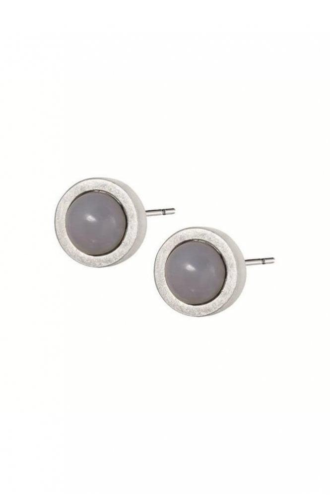 Sence Copenhagen Signature Grey Agate Stud Earrings in Worn Silver