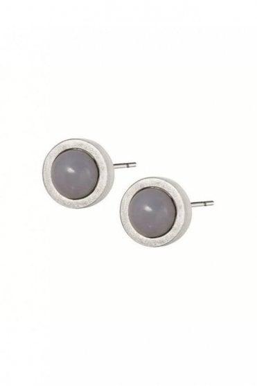 Signature Grey Agate Stud Earrings in Worn Silver