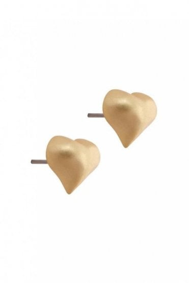 Signature Heart Earrings in Worn Gold
