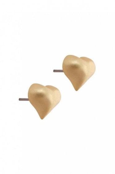 Signature Heart Earrings in Worn Gold