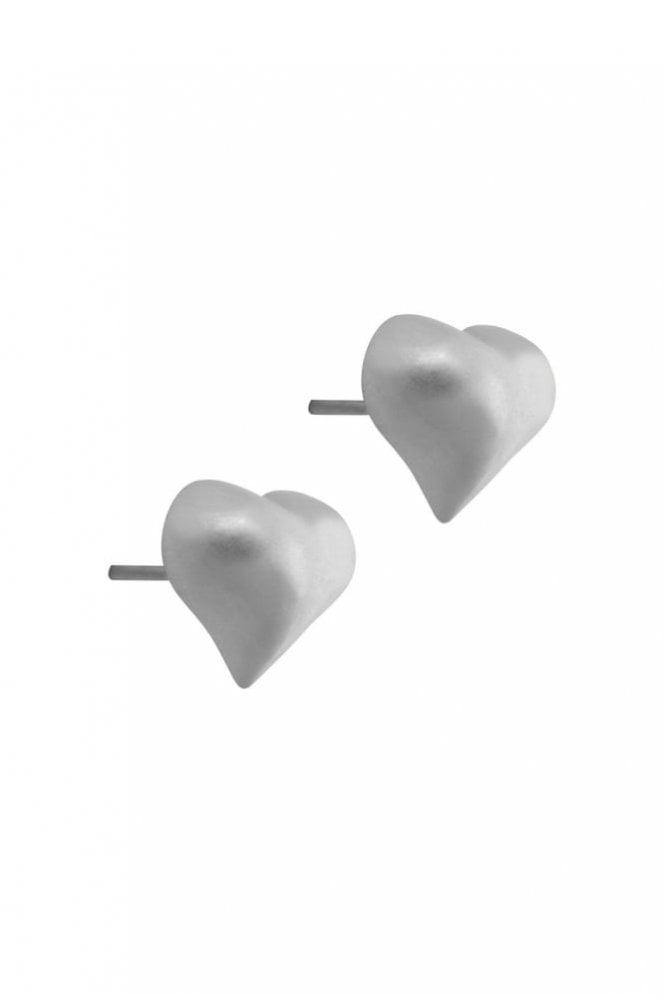 Sence Copenhagen Signature Heart Earrings in Worn Silver